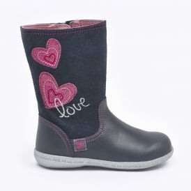 Zipped Boot With Heart Design