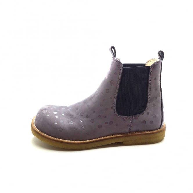 ANGULUS Dusty Lavender Suede Spotted Chelsea Boot