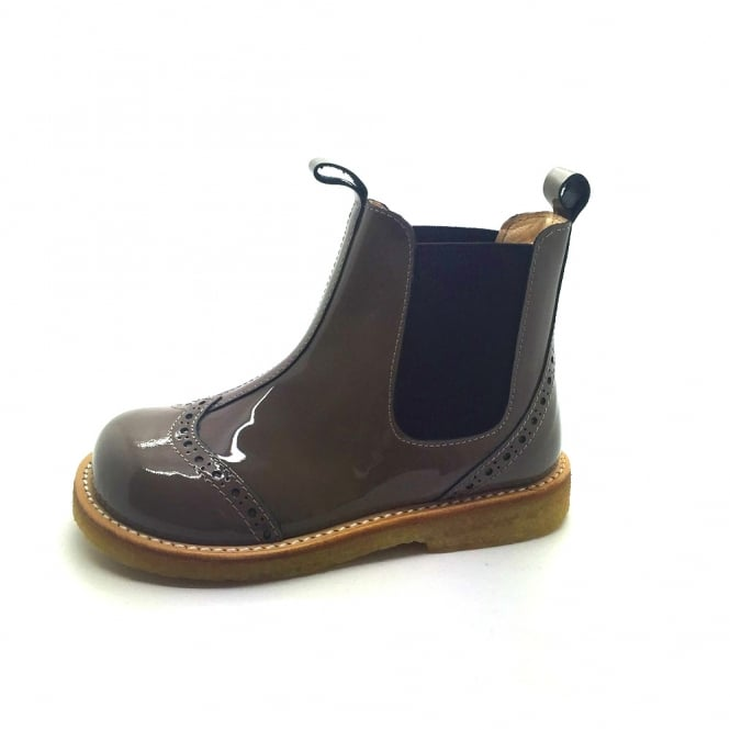 ANGULUS Light Brown Patent Leather Chelsea Boot