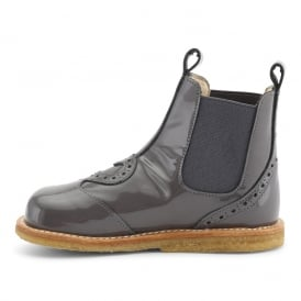Patent Chelsea Boot With Heart Detail