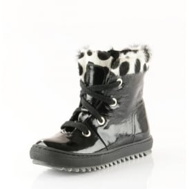 Patent Laced Boot With Zip Printed Top