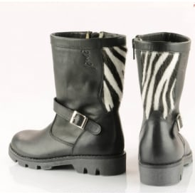 Wool Lined Biker Style Boot With Printed Back