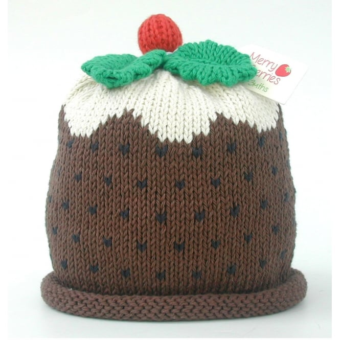 MERRY BERRIES Knitted Cotton Hat Christmas Pudding