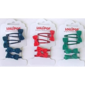Bobbles & Bow Clip Set Red