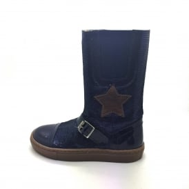 Petasil Zipped Long Boot With Star Navy Blue